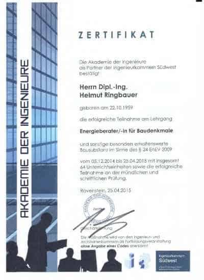 Zertifikat Energieauditor